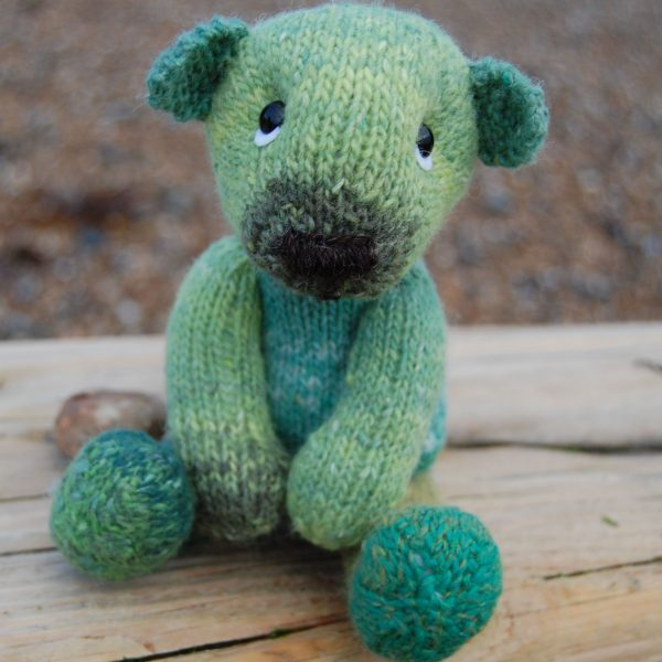 Little teddy bear Spinach knitted in hand dyed wool