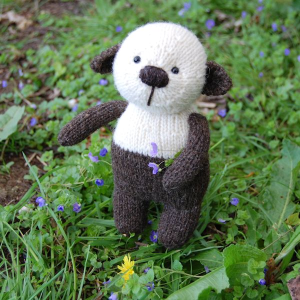 Little panda bear, hand knitted from pure Hebridean and Norfolk Horn hand spun wool
