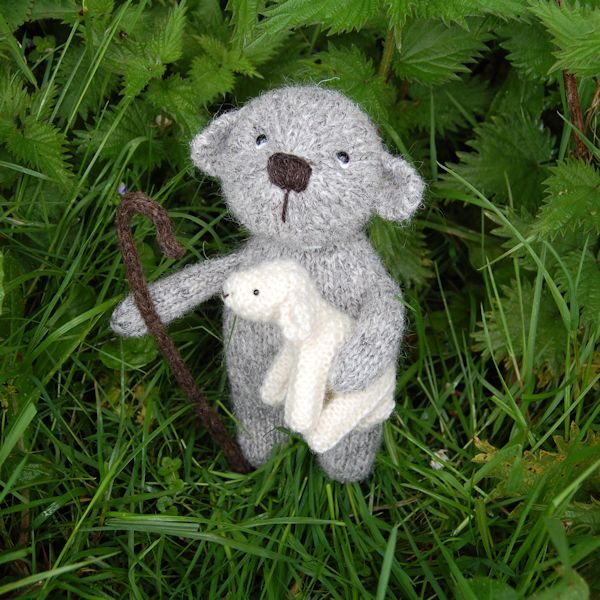 Our shepherd bear, hand knitted from pure Herdwick hand spun wool