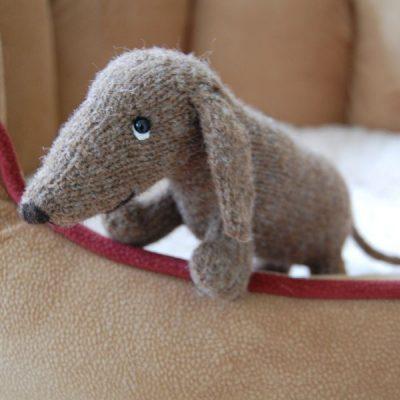 Hand knitted rare breed wool dachshund dog