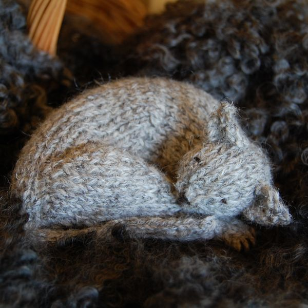 Sleepy cat hand knitted in pure Herdwick hand spun wool