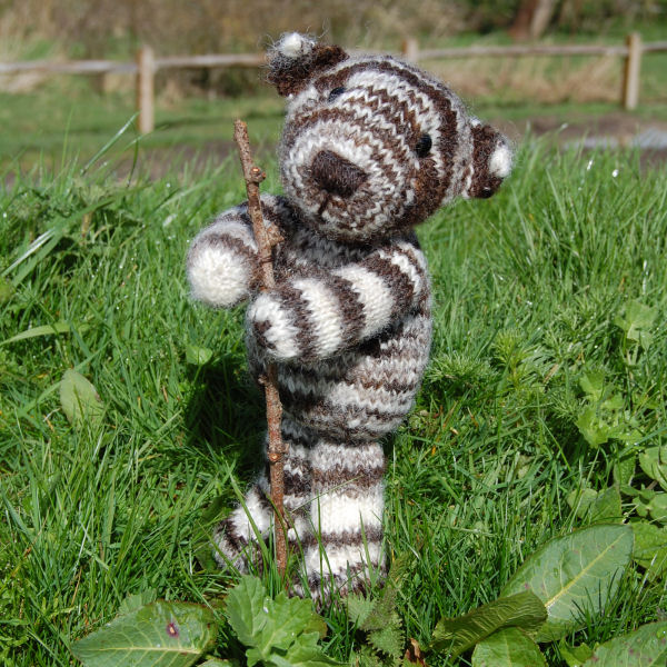 OOAK bear hand knitted from pure Jacob stripy hand spun wool