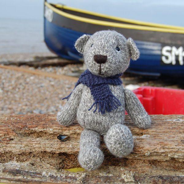Pure Shetland Marled Handspun Wool Teddy Bear