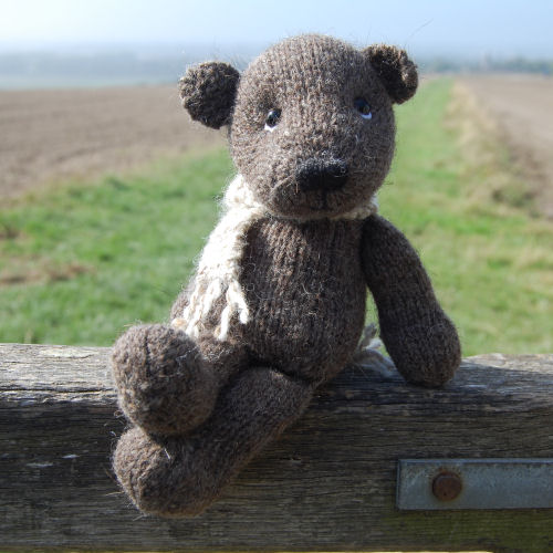 Our lovely North Ronaldsay bear, hand knitted from pure hand spun wool