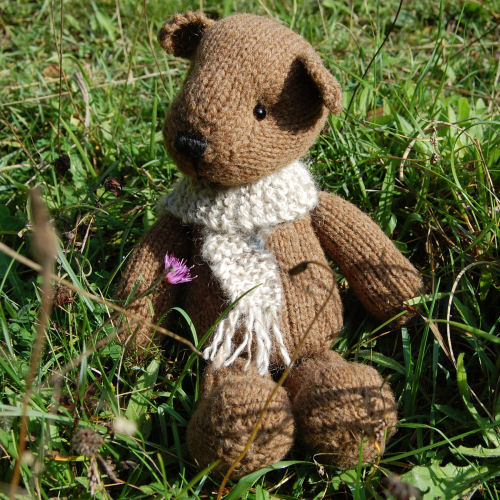 So cute - Castlemilk Moorit hand knitted teddy bear