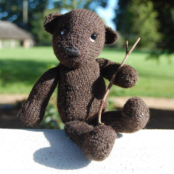 Our Black Welsh Mountain bear hand knitted from pure hand spun wool