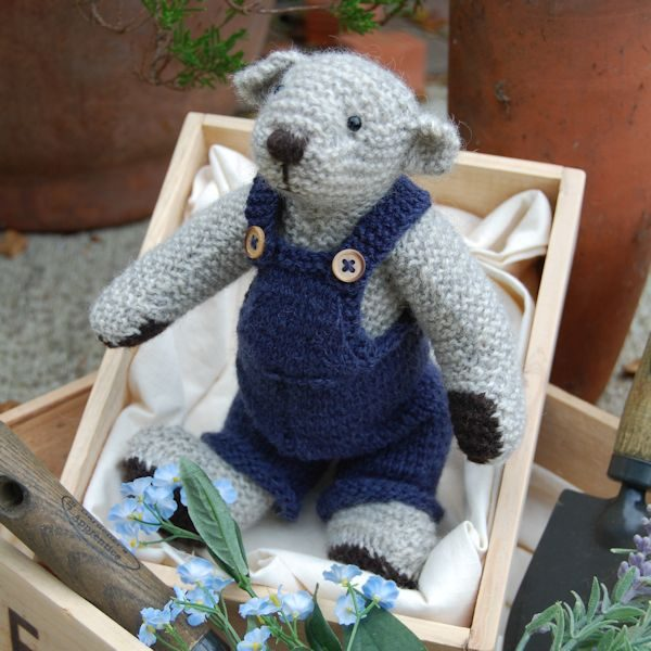Lakeland teddy bears, hand knitted from rare breed wool and fully dressed for a day's fell walking available from The Knitted Bear Company