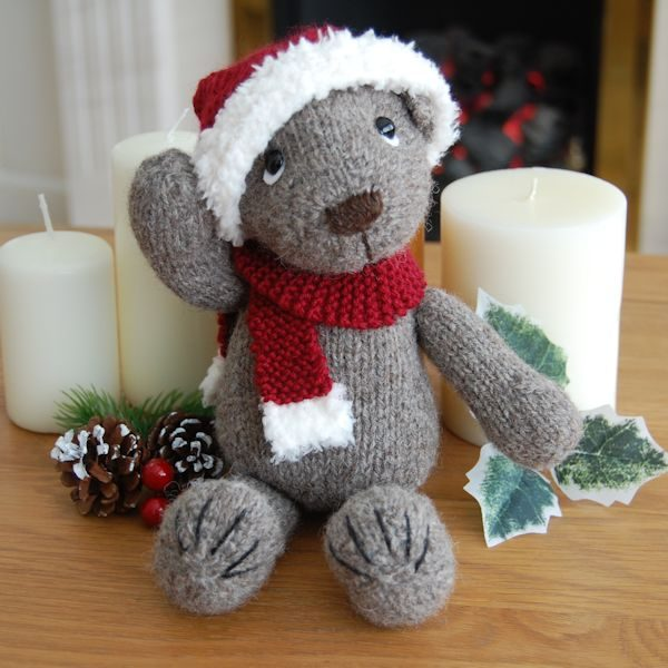 Our Christmas Teddy Bear, hand knitted from pure Jacob hand spun wool