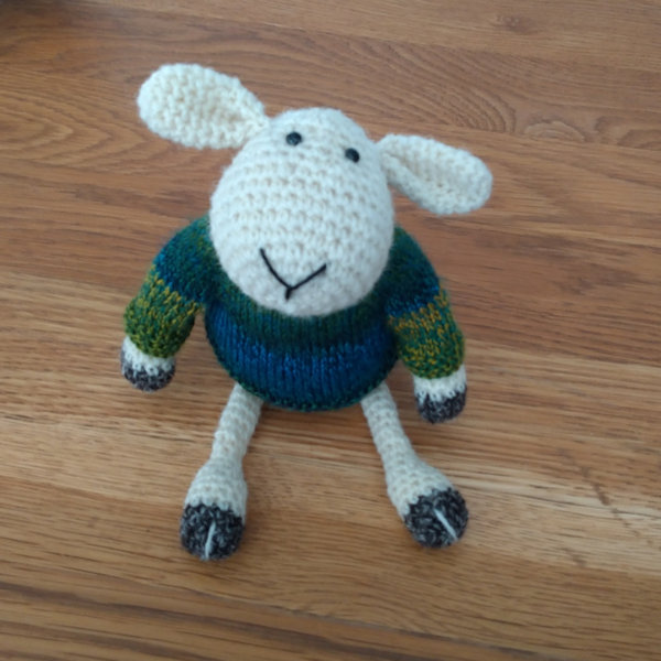 Adorable Cedric sheep, crocheted in pure Black Welsh Mountain wool