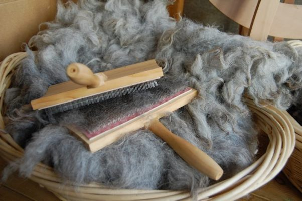 Hand carding boards and Herdwick fleece