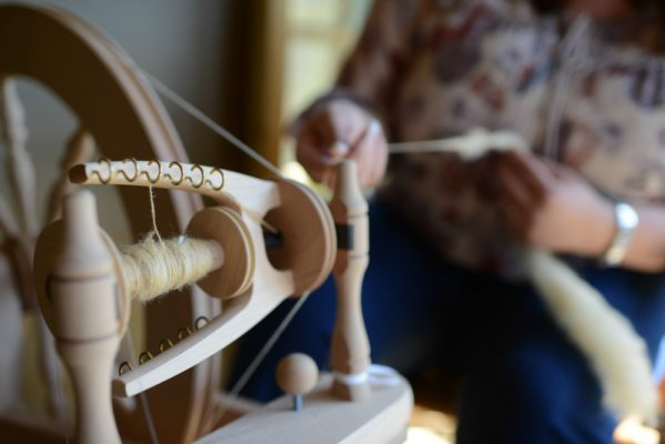 Hand spinning our Shetland wool