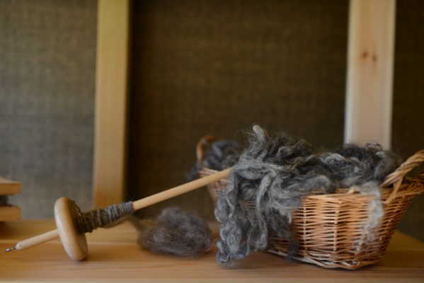 Gotland wool on a drop spindle