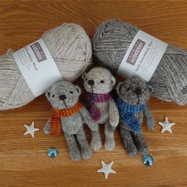 Sweet little Auskerry North Ronaldsay wool pocket size teddy bears