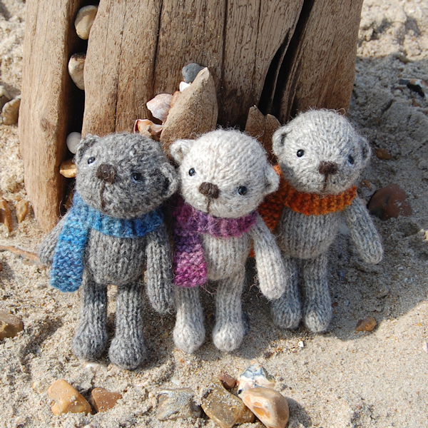 Sweet little Auskerry North Ronaldsay wool pocket size teddy bears
