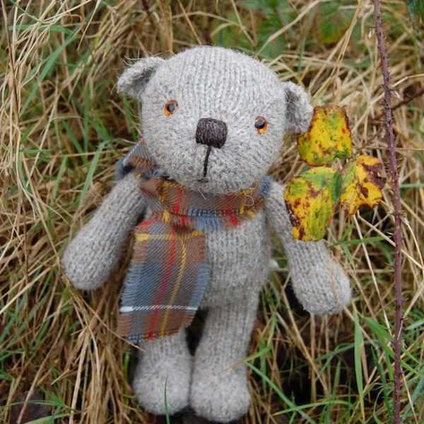 Boris a hand knitted Boreray wool teddy bear
