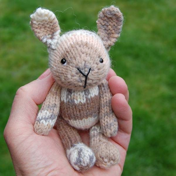 Adorable Cappuccino, a pocket size hand knitted rabbit