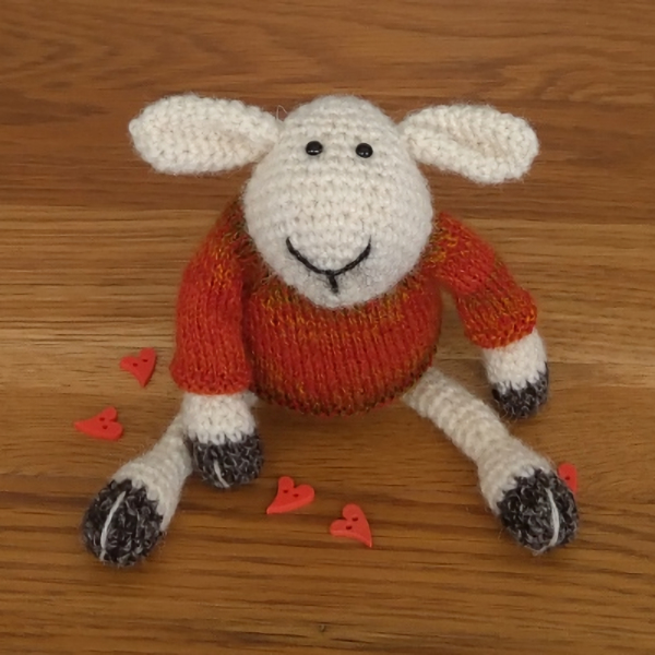A little sheep to win your heart - he is crocheted in pure Shetland wool
