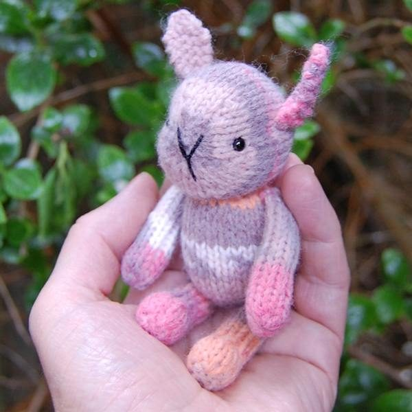 Rhubarb an adorable hand knitted pocket size Fair Isle rabbit