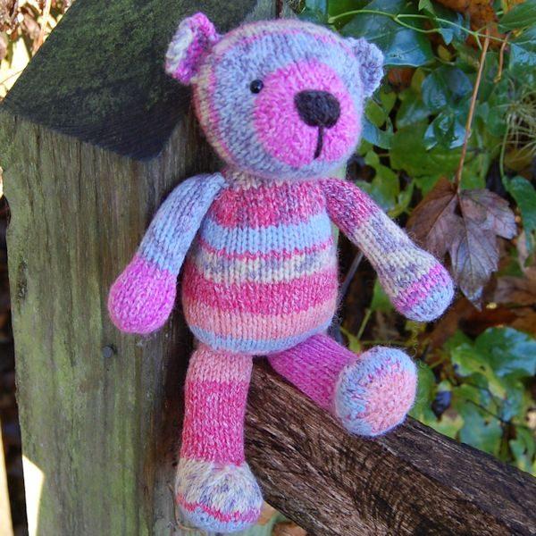 Cute little hand knitted sock yarn teddy bear