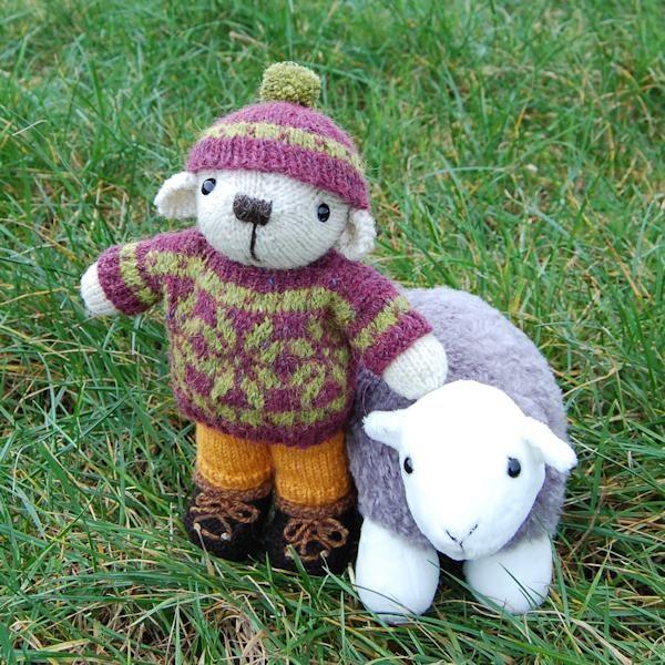 Fair Isle teddy bear George with his Herdwick sheep!