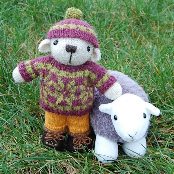 The lovely George, a traditional hand knitted Fair Isle teddy bear