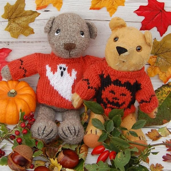 Hamish and Piglet modeling two scary Halloween jumpers!