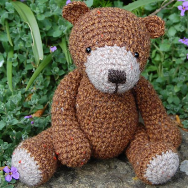 Tweed wool teddy bear - Chestnut