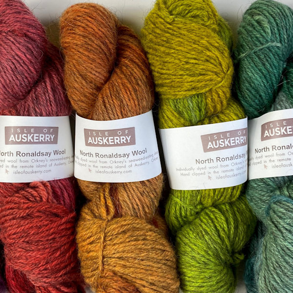 Isle of Auskerry hand dyed North Ronaldsay wool