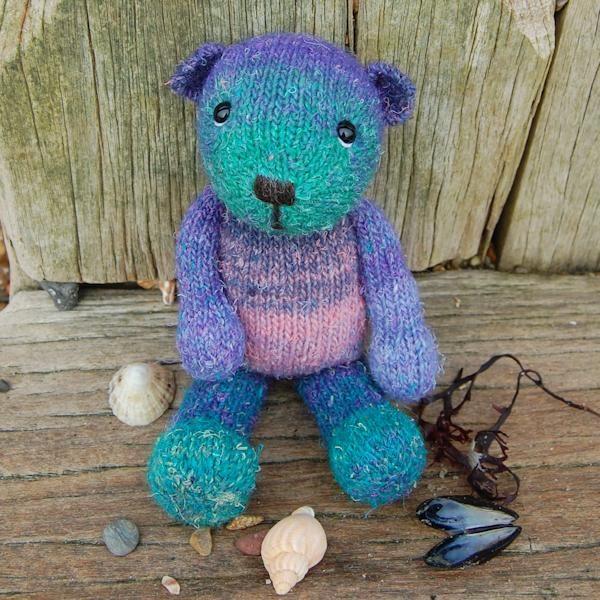 Bespoke hand dyed wool teddy bear