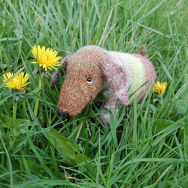 Hand dyed wool dachshund