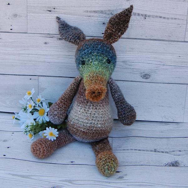 Gorgeous ooak hand dyed wool crochet aardvark named Antonio