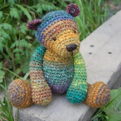 Hand dyed wool crocheted teddy bear