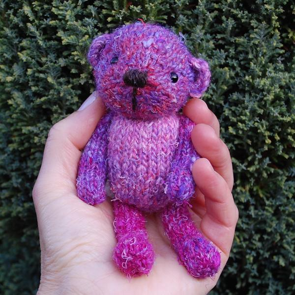 Little Rhubarb hand knitted from bespoke hand dyed wool - a little bear to brighten up any day!