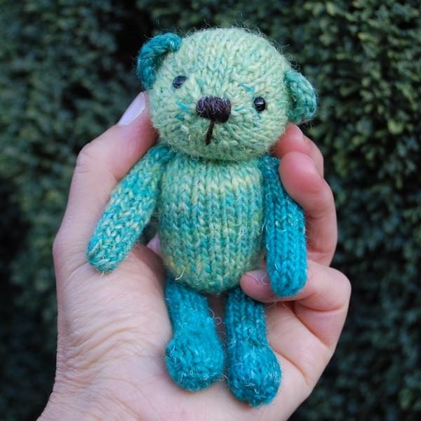 Parsley a bespoke hand dyed wool teddy bear