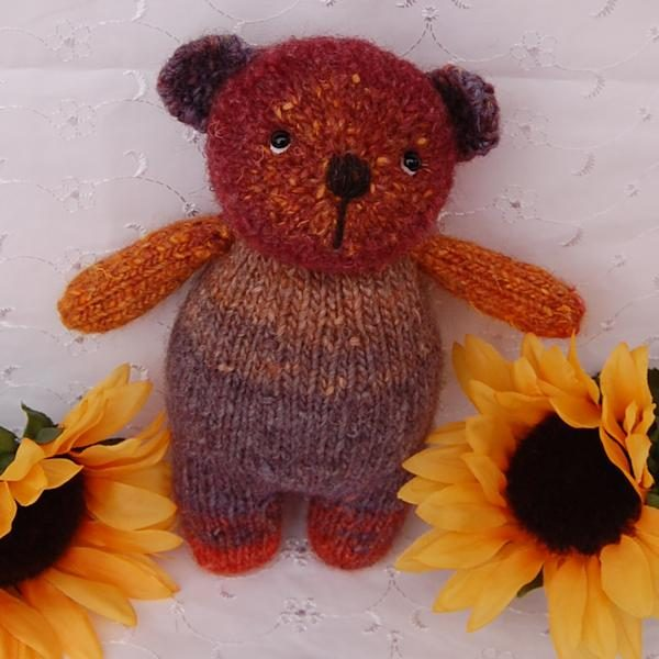 Little Rolly, a hand dyed wool one-of-a-kind teddy bear