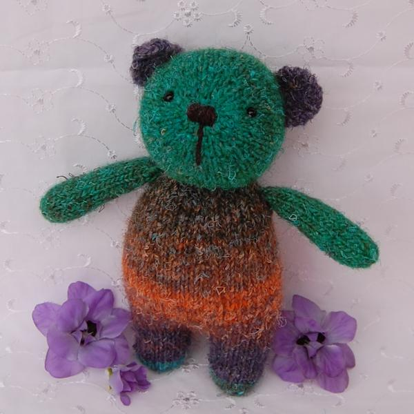 Little Cuthbert a one-of-a-kind teddy bear knitted from hand dyed yarn
