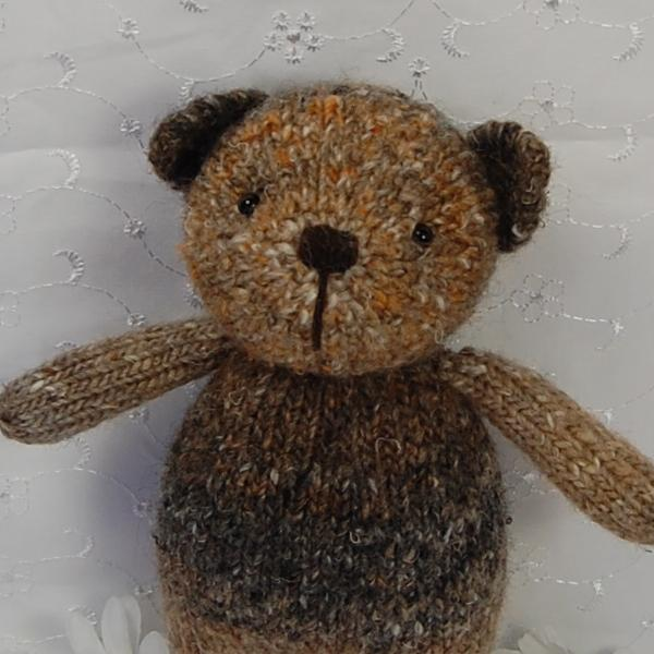 Little Weetabix a one-of-a-kind little bear knitted from hand dyed wool