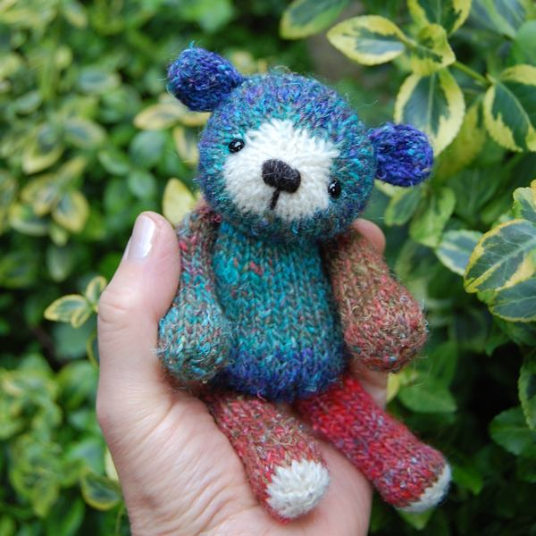 Cute little hand dyed wool knitted teddy bear