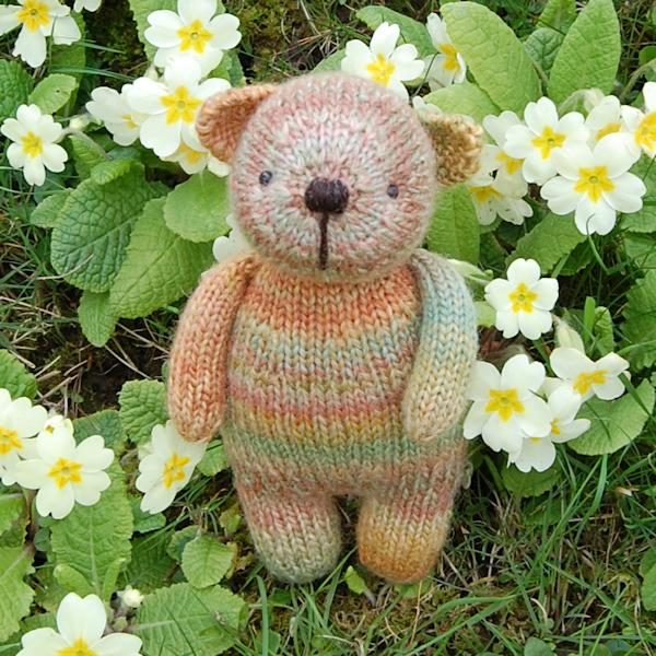 Cute little Hobnob knitted from hand dyed Bluefaced Leicester wool