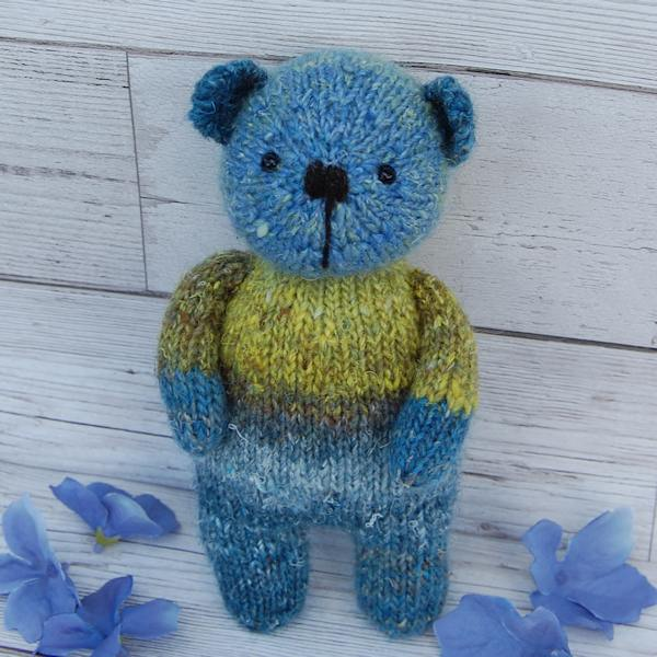 Aqua, our cute little hand dyed wool teddy bear