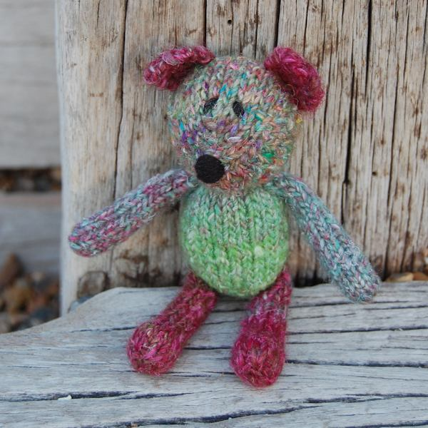 Little hand dyed wool teddy bear