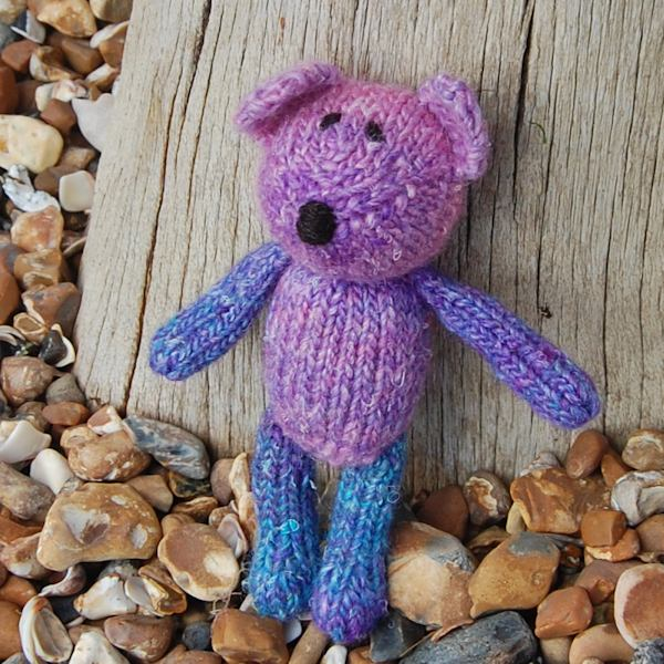 Uniquely hand dyed wool teddy bear