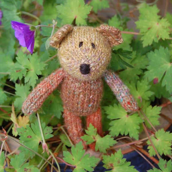 Cute little Rufus hand knitted in warm Autumnal shades - this little teddy bear is totally unique!