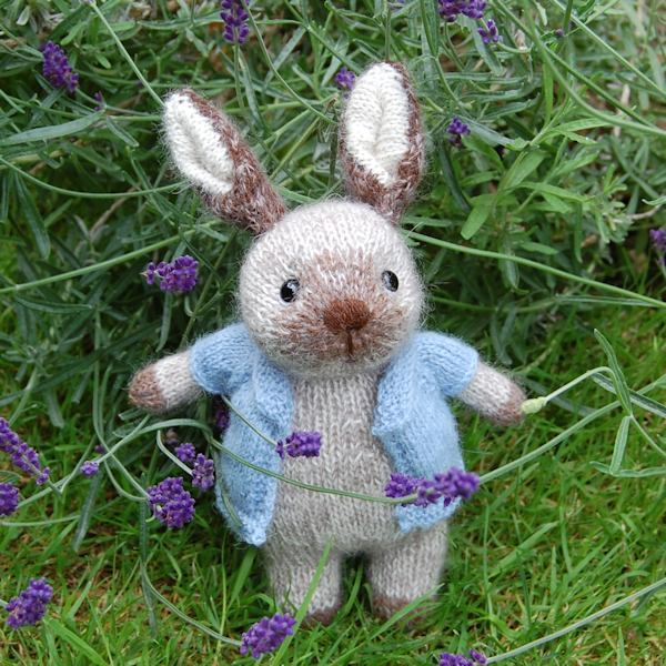 Cute little hand knitted alpaca and mohair wool bunny rabbit
