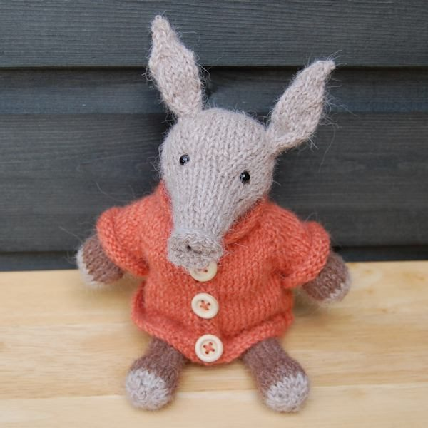 The adorable Albert aardvark designed and hand knitted by The Knitted Bear Co and made from the softest alpaca wool