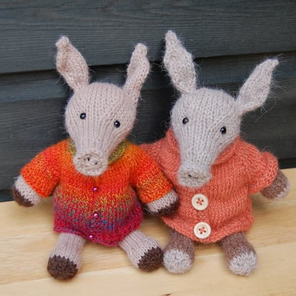 The adorable Alan and Albert aardvarks designed and hand knitted by The Knitted Bear Co and made from the softest alpaca wool