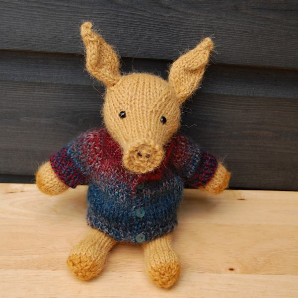 The adorable Anthony aardvark designed and hand knitted by The Knitted Bear Co and made from the softest alpaca wool