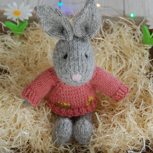 Cute little Easter rabbit hand knitted in pure soft Alpaca wool