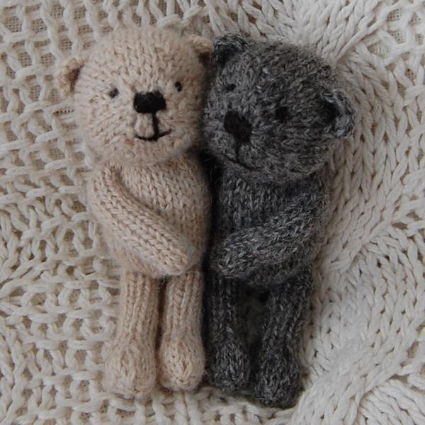 Cedric and Dempster, two Little Scraps teddy bears measuring just 5.5 inches and knitted from hand spun rare breed wool.