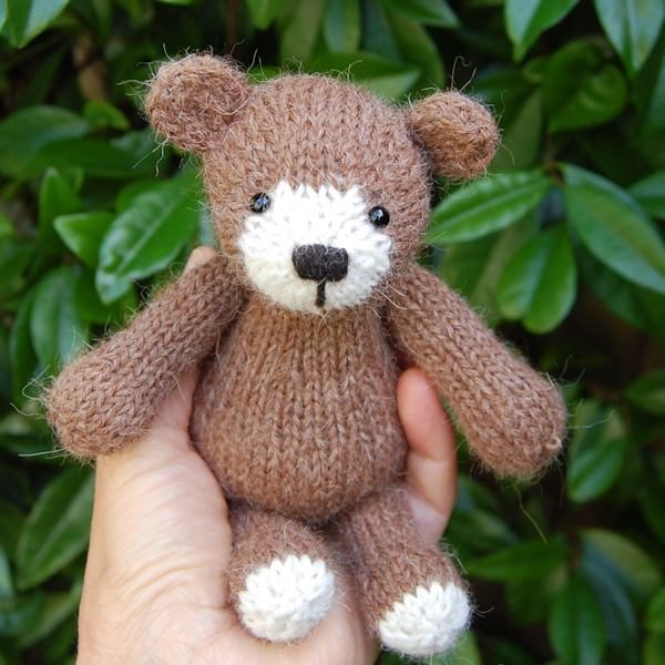 Little pure alpaca wool teddy bear